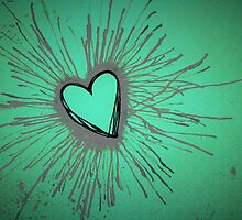 Purple and Green Exploding Heart by Amber Batten