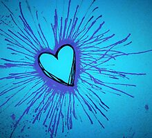 Blue and Purple Exploding Heart by Amber Batten