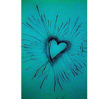 Light Blue Exploding Heart Photographic Print