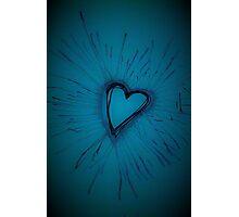 Deep Blue Exploding Heart Photographic Print