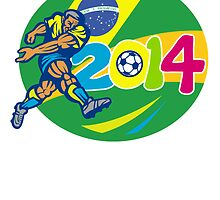 Brazil 2014 Soccer Football Player Retro by patrimonio