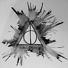 Black and White Exploding Deathly Hallows by Amber Batten