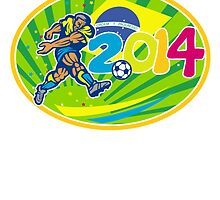 Brazil 2014 Soccer Football Player Kicking Ball by patrimonio