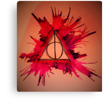 Red and Purple Exploding Deathly Hallows Canvas Print