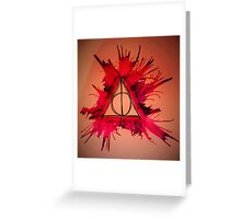 Red and Purple Exploding Deathly Hallows Greeting Card