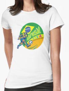 Brasil 2014 Football Player Kicking Retro Womens Fitted T-Shirt