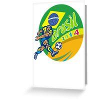 Brasil 2014 Football Player Kicking Retro Greeting Card