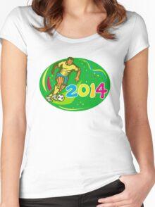 Brasil 2014 Soccer Football Player Run Retro Women's Fitted Scoop T-Shirt