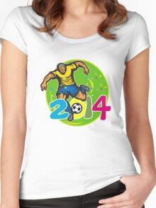 Brazil 2014 Football Player Kick Retro Women's Fitted Scoop T-Shirt