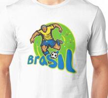 Brazil Football Player Kicking Ball Retro Unisex T-Shirt