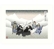 Jon Snow Duels Qhorin Halfhand as Wildlings Look On Art Print