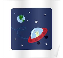 Cute alien in space with planet earth and stars, wall art for children Poster