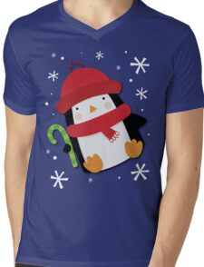 Holiday Penguin Mens V-Neck T-Shirt