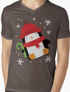 Holiday Penguin Mens V-Neck T-Shirt