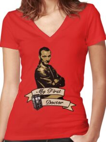 Doctor Who - My first Doctor (Who) Ninth 9th Christopher Eccleston Women's Fitted V-Neck T-Shirt