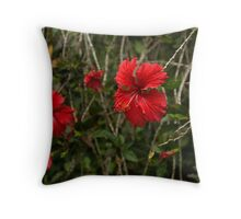 Chaotic Disarray of Red Hibiscus Flowers Throw Pillow