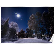 Moonlight and Frostbite - Ruka, Finland/Lapland Poster