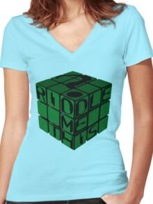 Riddle's Cube Women's Fitted V-Neck T-Shirt