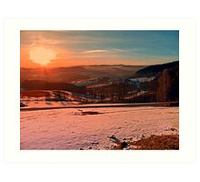 Colorful winter wonderland sundown II | landscape photography Art Print