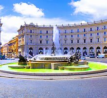 Rome, Italy - Fountain roundabout outside Piazza della Republica by JessicaRoss