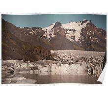 Svinafellsjokul glacier & lake by moonlight Poster