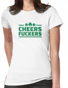 Cheers fuckers irish shamrock Womens Fitted T-Shirt