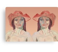 Red hat girl ( double ) Canvas Print