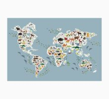 animal world map  Kids Tee