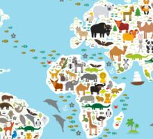animal world map  Sticker