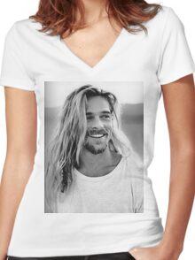 Brad Pitt Women's Fitted V-Neck T-Shirt