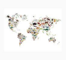 Cartoon animal world map on white background Kids Tee