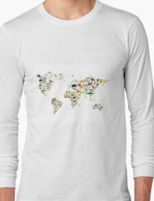 Cartoon animal world map on white background T-Shirt
