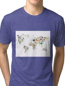 Cartoon animal world map on white background Tri-blend T-Shirt