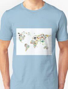 Cartoon animal world map on white background T-Shirt