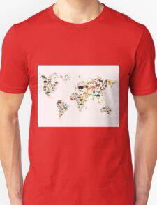 Cartoon animal world map on white background Unisex T-Shirt