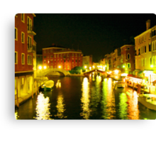 Italy. Venice Night lights Canvas Print