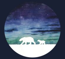 Aurora borealis and polar bears (light version) One Piece - Long Sleeve