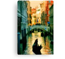 Italy. Venice lonely boatman Canvas Print