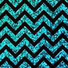 Chevron Aqua Sparkle by Mary Nesrala