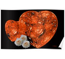 Red Hearts and White Roses Poster