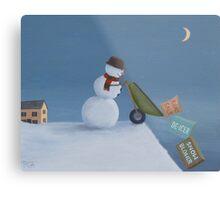 Snowman Survival Stragtegies Metal Print