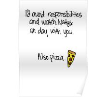 """""""Avoiding Responsibilities with Pizza and Netflix"""" Valentine in White Poster"""