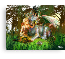 Game of Thrones + How to Train Your Dragon Dany + Toothless Canvas Print