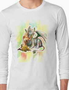 Game of Thrones + How to Train Your Dragon Dany + Toothless Long Sleeve T-Shirt