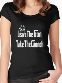 Leave The Gun Take The Cannoli Dark Hoodie Women's Fitted Scoop T-Shirt