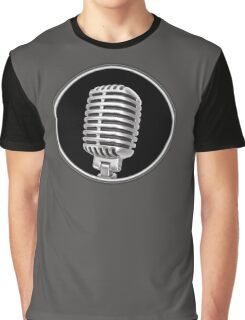Vintage Gray Microphone Sign Graphic T-Shirt