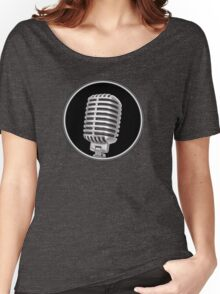 Vintage Gray Microphone Sign Women's Relaxed Fit T-Shirt