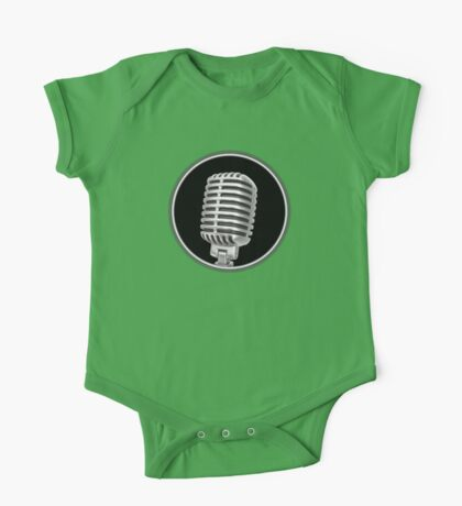 Vintage Gray Microphone Sign One Piece - Short Sleeve