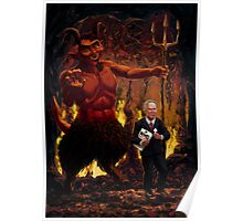 Tony Blair in Hell with Devil and holding Weapons of Mass Destruction document Poster