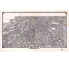 Aerial View Map of Atlanta Georgia (1919) Photographic Print